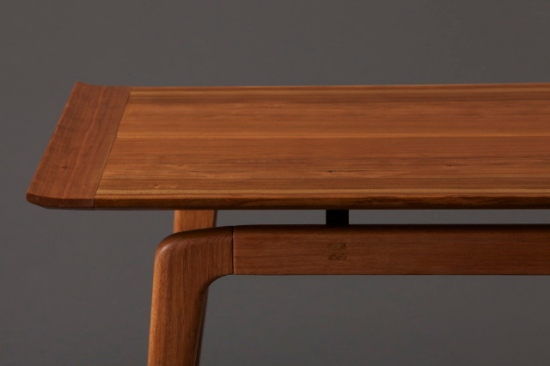 A nod to our Danish mid-century forefathers a table which focuses on fine details and rich grain. Joined together using hand cut mortise and tenon. Black Cherry, Kwila, hand cut brass fasteners.Photo Credit: Ingeborg Suzanne