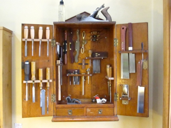 This 100yr old cabinet was given to Meredith from a family member, I made some of the tools and some are were given to her.