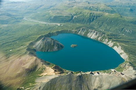 Aerial View of Crater Lake in Katmai National Park and Preserve